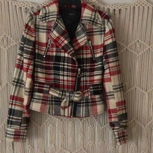 Plaid Cropped Overcoat